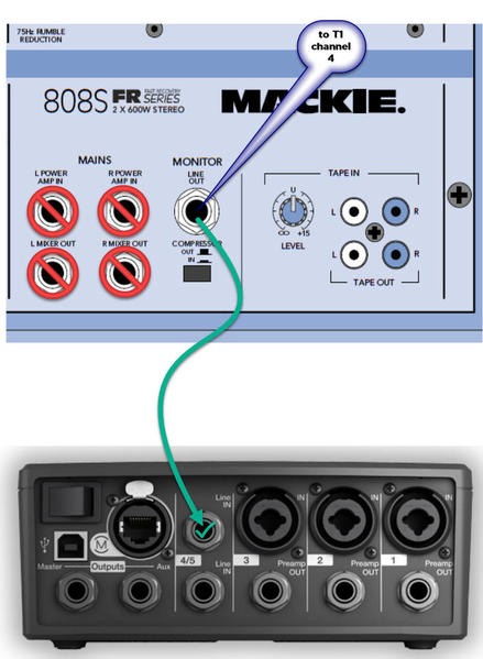 Mackie 808 to T1
